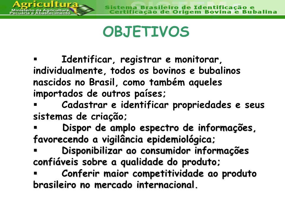 OBJETIVOS Identificar, registrar e monitorar, individualmente, todos os bovinos e bubalinos nascidos no Brasil, como também aqueles importados de outr