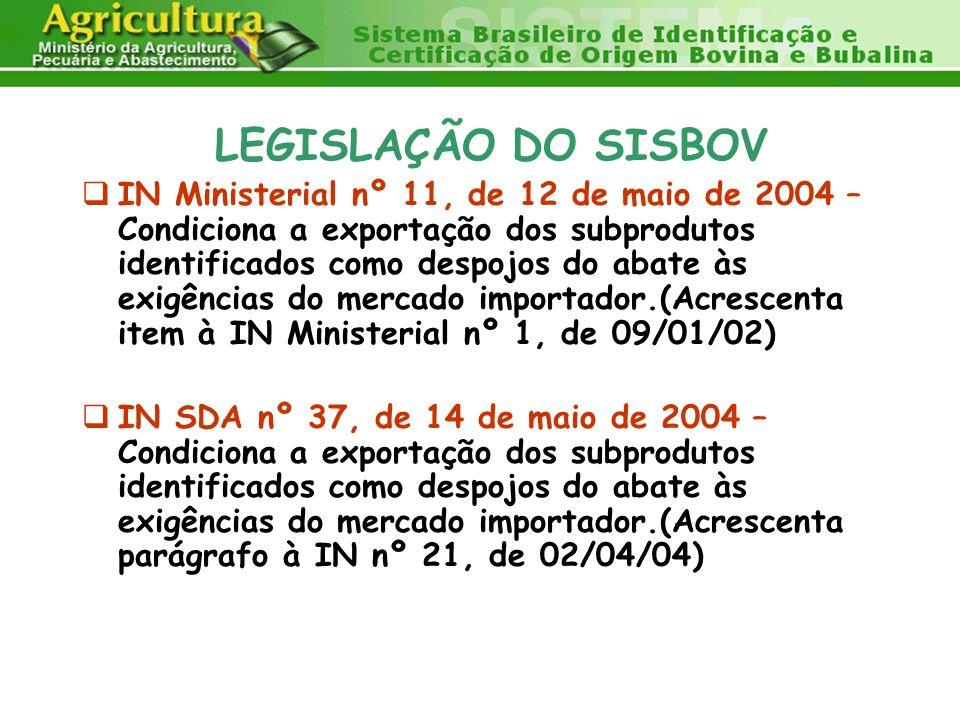 LEGISLAÇÃO DO SISBOV IN Ministerial nº 11, de 12 de maio de 2004 – Condiciona a exportação dos subprodutos identificados como despojos do abate às exi