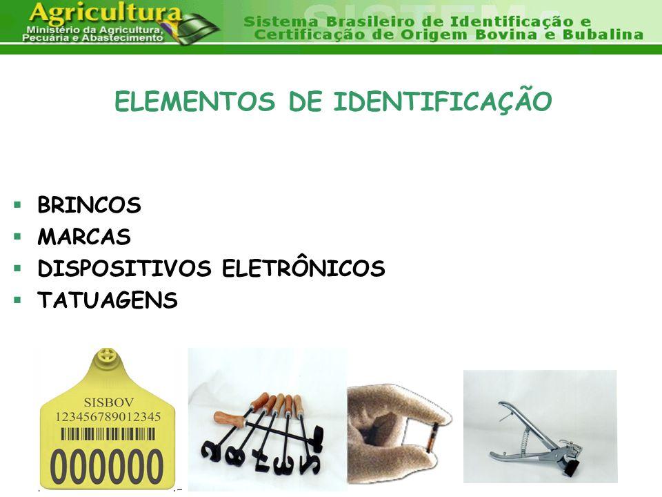 ELEMENTOS DE IDENTIFICAÇÃO BRINCOS MARCAS DISPOSITIVOS ELETRÔNICOS TATUAGENS