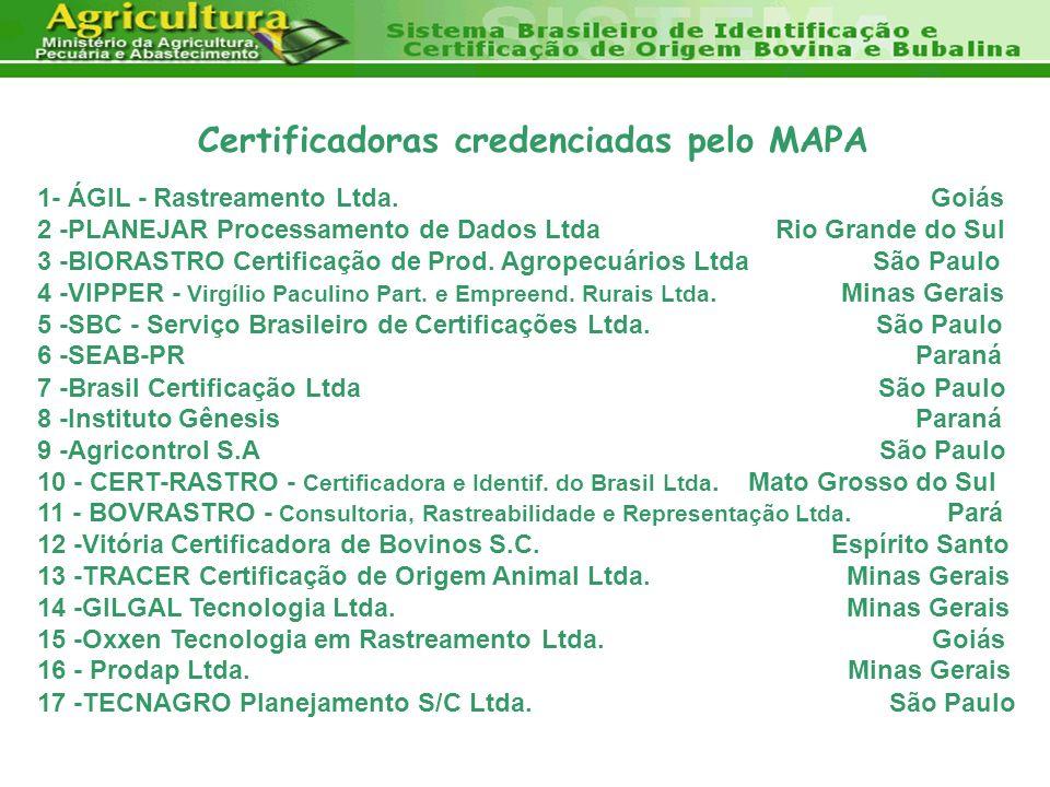 Certificadoras credenciadas pelo MAPA 1- ÁGIL - Rastreamento Ltda. Goiás 2 -PLANEJAR Processamento de Dados Ltda Rio Grande do Sul 3 -BIORASTRO Certif