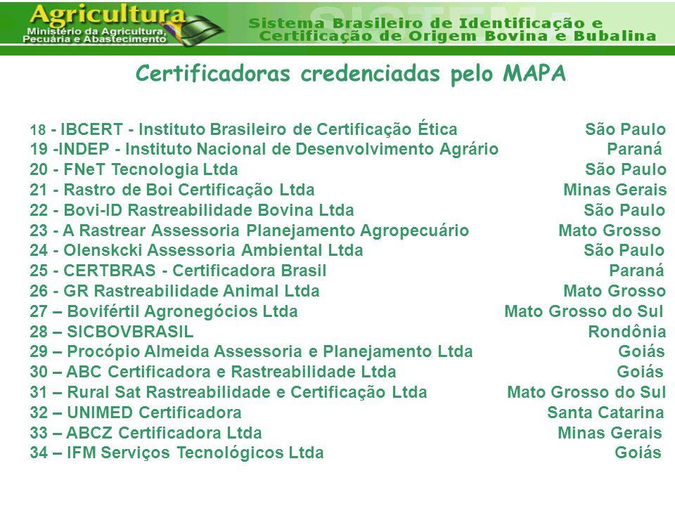 Certificadoras credenciadas pelo MAPA 18 - IBCERT - Instituto Brasileiro de Certificação Ética São Paulo 19 -INDEP - Instituto Nacional de Desenvolvim