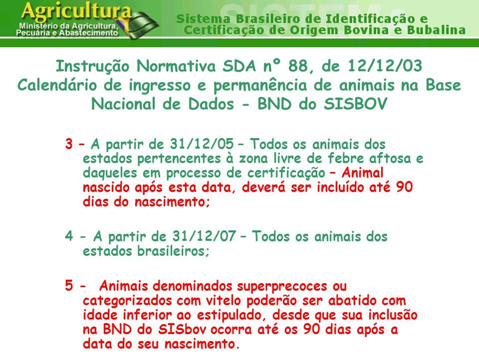 3 – A partir de 31/12/05 – Todos os animais dos estados pertencentes à zona livre de febre aftosa e daqueles em processo de certificação – Animal nasc