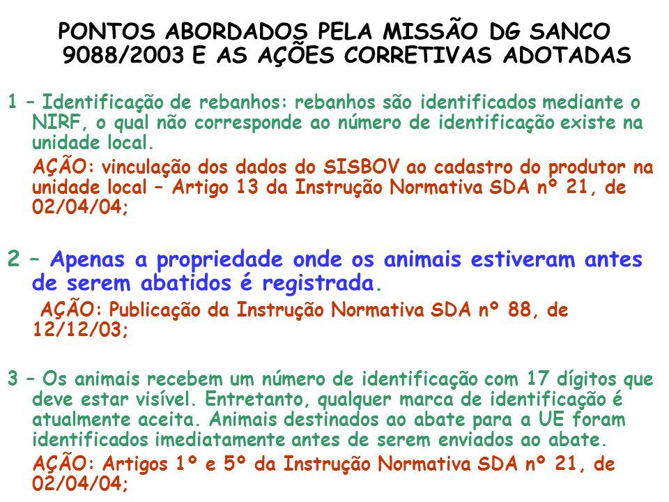 PONTOS ABORDADOS PELA MISSÃO DG SANCO 9088/2003 E AS AÇÕES CORRETIVAS ADOTADAS 1 – Identificação de rebanhos: rebanhos são identificados mediante o NI