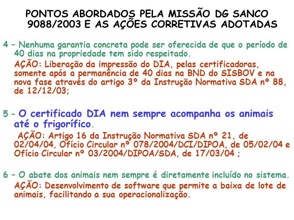 PONTOS ABORDADOS PELA MISSÃO DG SANCO 9088/2003 E AS AÇÕES CORRETIVAS ADOTADAS 4 – Nenhuma garantia concreta pode ser oferecida de que o período de 40