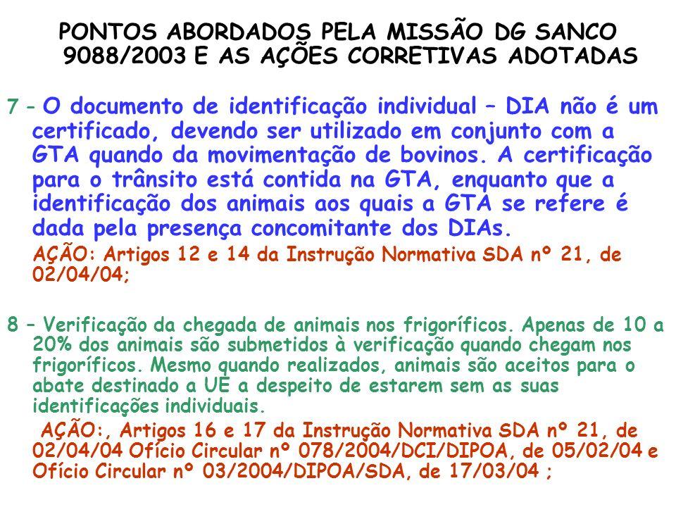 PONTOS ABORDADOS PELA MISSÃO DG SANCO 9088/2003 E AS AÇÕES CORRETIVAS ADOTADAS 7 – O documento de identificação individual – DIA não é um certificado,