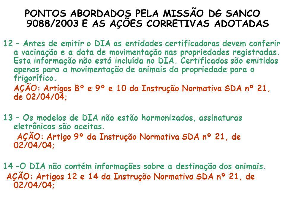 PONTOS ABORDADOS PELA MISSÃO DG SANCO 9088/2003 E AS AÇÕES CORRETIVAS ADOTADAS 12 – Antes de emitir o DIA as entidades certificadoras devem conferir a