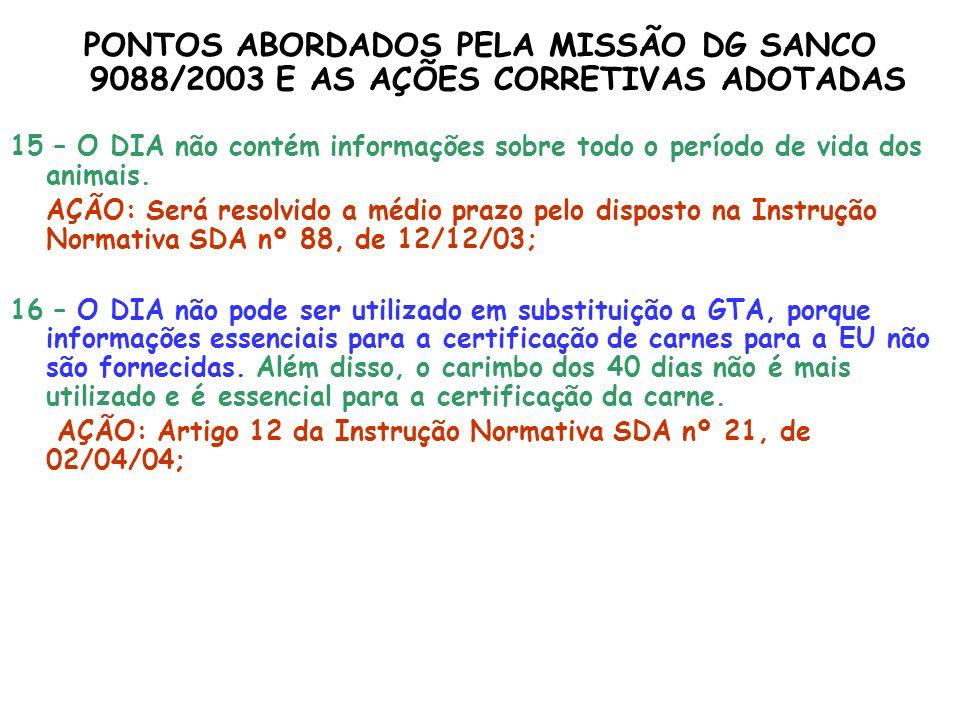 PONTOS ABORDADOS PELA MISSÃO DG SANCO 9088/2003 E AS AÇÕES CORRETIVAS ADOTADAS 15 – O DIA não contém informações sobre todo o período de vida dos anim