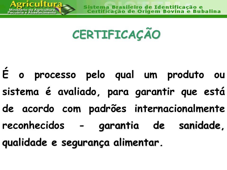 Certificadoras credenciadas pelo MAPA 18 - IBCERT - Instituto Brasileiro de Certificação Ética São Paulo 19 -INDEP - Instituto Nacional de Desenvolvimento Agrário Paraná 20 - FNeT Tecnologia Ltda São Paulo 21 - Rastro de Boi Certificação Ltda Minas Gerais 22 - Bovi-ID Rastreabilidade Bovina Ltda São Paulo 23 - A Rastrear Assessoria Planejamento Agropecuário Mato Grosso 24 - Olenskcki Assessoria Ambiental Ltda São Paulo 25 - CERTBRAS - Certificadora Brasil Paraná 26 - GR Rastreabilidade Animal Ltda Mato Grosso 27 – Bovifértil Agronegócios Ltda Mato Grosso do Sul 28 – SICBOVBRASIL Rondônia 29 – Procópio Almeida Assessoria e Planejamento Ltda Goiás 30 – ABC Certificadora e Rastreabilidade Ltda Goiás 31 – Rural Sat Rastreabilidade e Certificação Ltda Mato Grosso do Sul 32 – UNIMED Certificadora Santa Catarina 33 – ABCZ Certificadora Ltda Minas Gerais 34 – IFM Serviços Tecnológicos Ltda Goiás