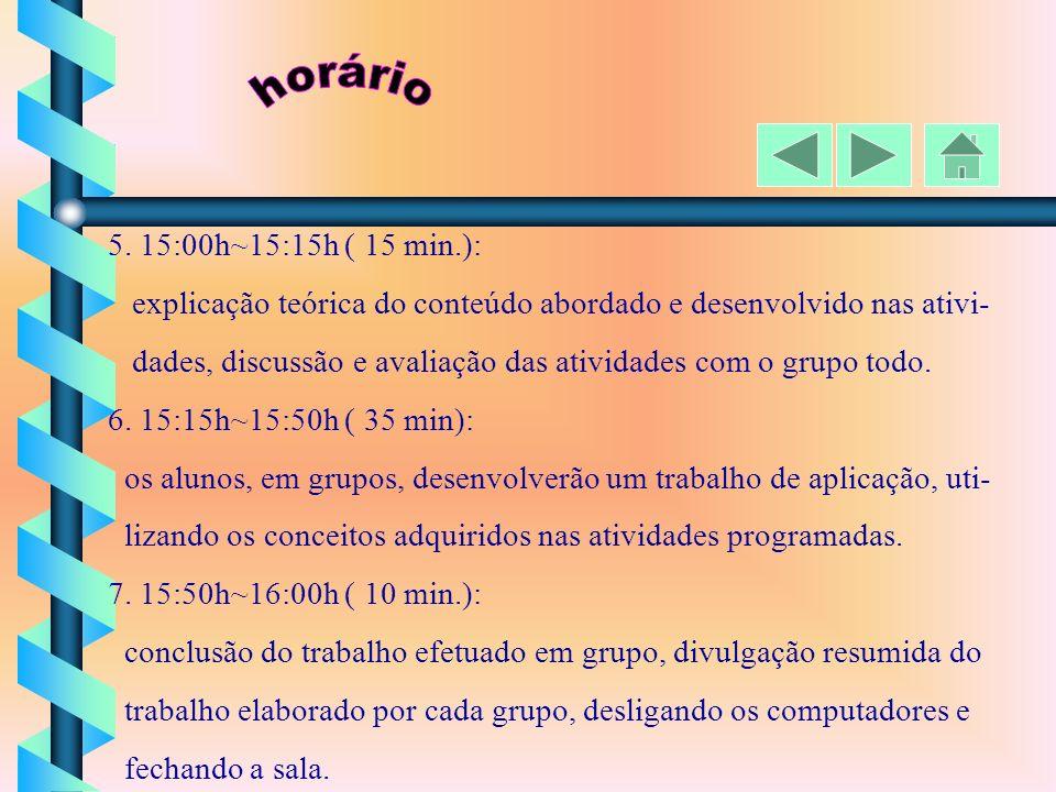 1. Início: 14:00 h 2. 14:00h~14:15h ( 15 min.): ligar os computadores, acessar o programa, rever o que foi feito na aula anterior, divulgação dos trab