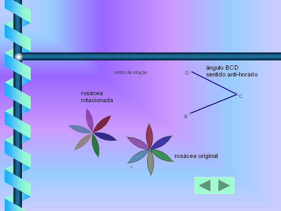 a) conceito de sentido horário e sentido anti- horário; b) construção de um ângulo qualquer para definir o arco de rotação; c) construção de um ponto