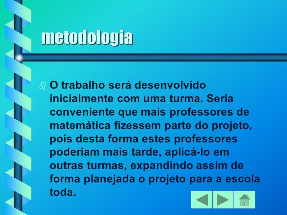 metodologia b O trabalho será desenvolvido inicialmente com uma turma.
