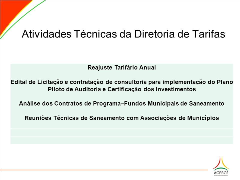 Atividades Técnicas da Diretoria de Tarifas Reajuste Tarifário Anual Edital de Licitação e contratação de consultoria para implementação do Plano Pilo