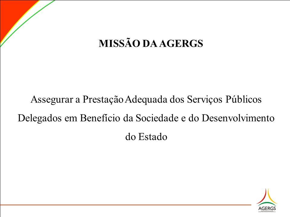 MISSÃO DA AGERGS Assegurar a Prestação Adequada dos Serviços Públicos Delegados em Benefício da Sociedade e do Desenvolvimento do Estado