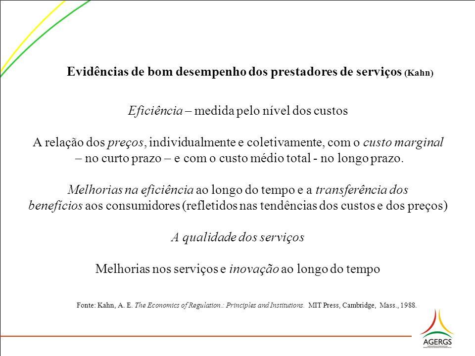 Evidências de bom desempenho dos prestadores de serviços (Kahn) Eficiência – medida pelo nível dos custos A relação dos preços, individualmente e cole