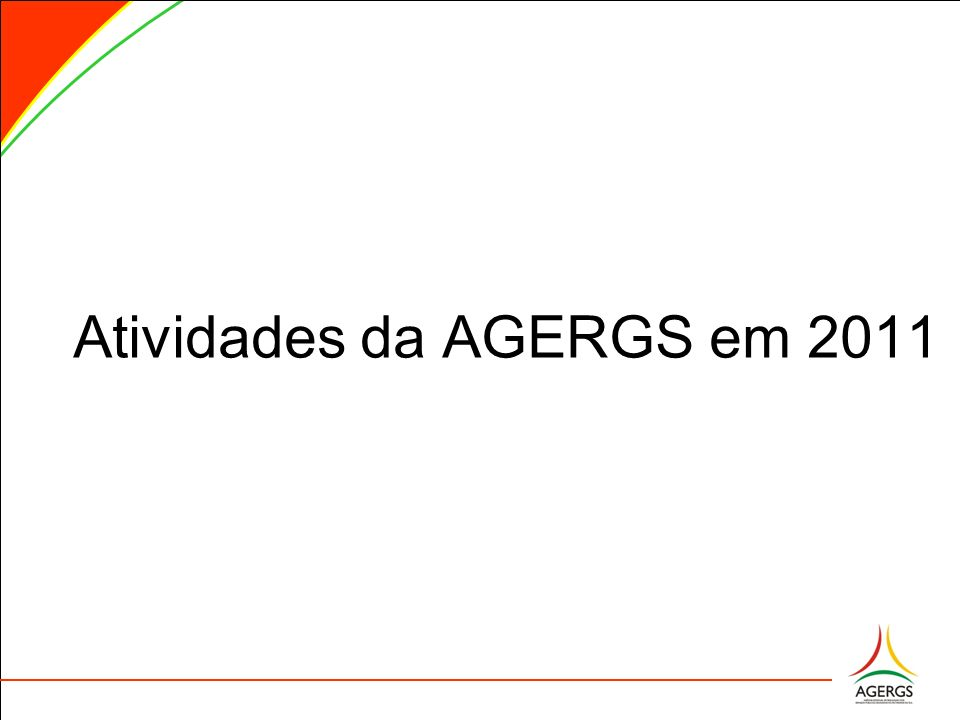 Atividades do GAB Presidência Reuniões Técnicas de SaneamentoDataLocal 1 GRANPAL (Grande Porto Alegre) - AMLINORTE (Litoral Norte) - ACENSUL (Centro Sul) - AMVRS (Vale do Rio dos Sinos) - AMVARC (Vale do Rio Caí) - AMPAR (Vale do Paranhana ) 24/05/11 Santo Antônio da Patrulha 2AMASBI (Alto da Serra do Botucaraí)18/08/11 Soledade 3AMESNE (Encosta Superior do Nordeste)24/08/11Bento Gonçalves 4AMVAT (Vale do Taquarí)09/09/11Lajeado 5AMFRO (Fronteira Oeste)24/11/11Alegrete 6AMUNOR (Nordeste Riograndense)01/12/11Tapejara 7AMAJA (Alto do Jacuí)21/12/11Cruz Alta