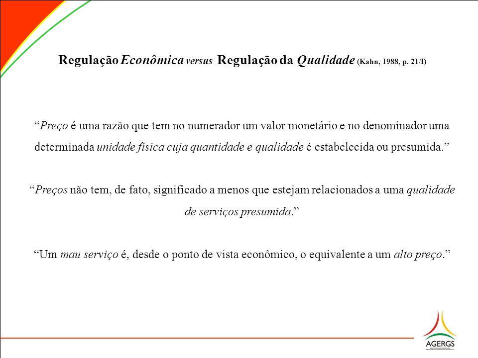 Regulação Econômica versus Regulação da Qualidade (Kahn, 1988, p. 21/I) Preço é uma razão que tem no numerador um valor monetário e no denominador uma