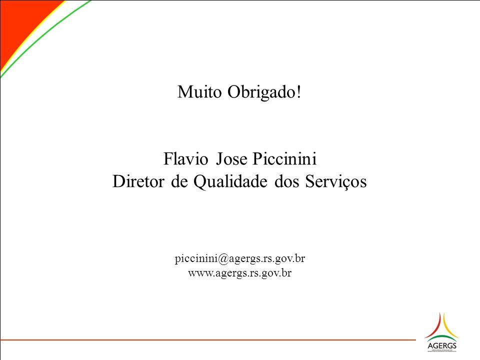 Muito Obrigado! Flavio Jose Piccinini Diretor de Qualidade dos Serviços piccinini@agergs.rs.gov.br www.agergs.rs.gov.br