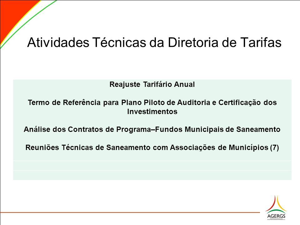 Atividades Técnicas da Diretoria de Tarifas Reajuste Tarifário Anual Termo de Referência para Plano Piloto de Auditoria e Certificação dos Investiment