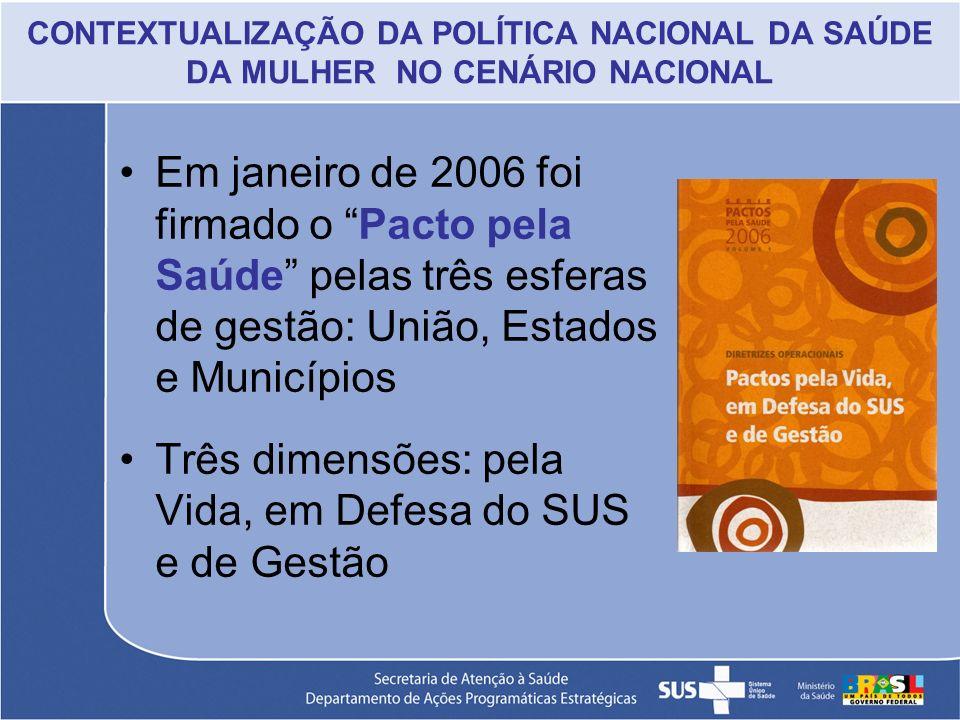 CONTEXTUALIZAÇÃO DA POLÍTICA NACIONAL DA SAÚDE DA MULHER NO CENÁRIO NACIONAL Em janeiro de 2006 foi firmado o Pacto pela Saúde pelas três esferas de g