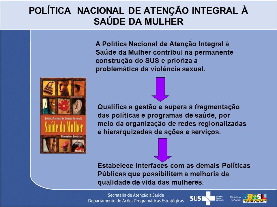 POLÍTICA NACIONAL DE ATENÇÃO INTEGRAL À SAÚDE DA MULHER A Política Nacional de Atenção Integral à Saúde da Mulher contribui na permanente construção d
