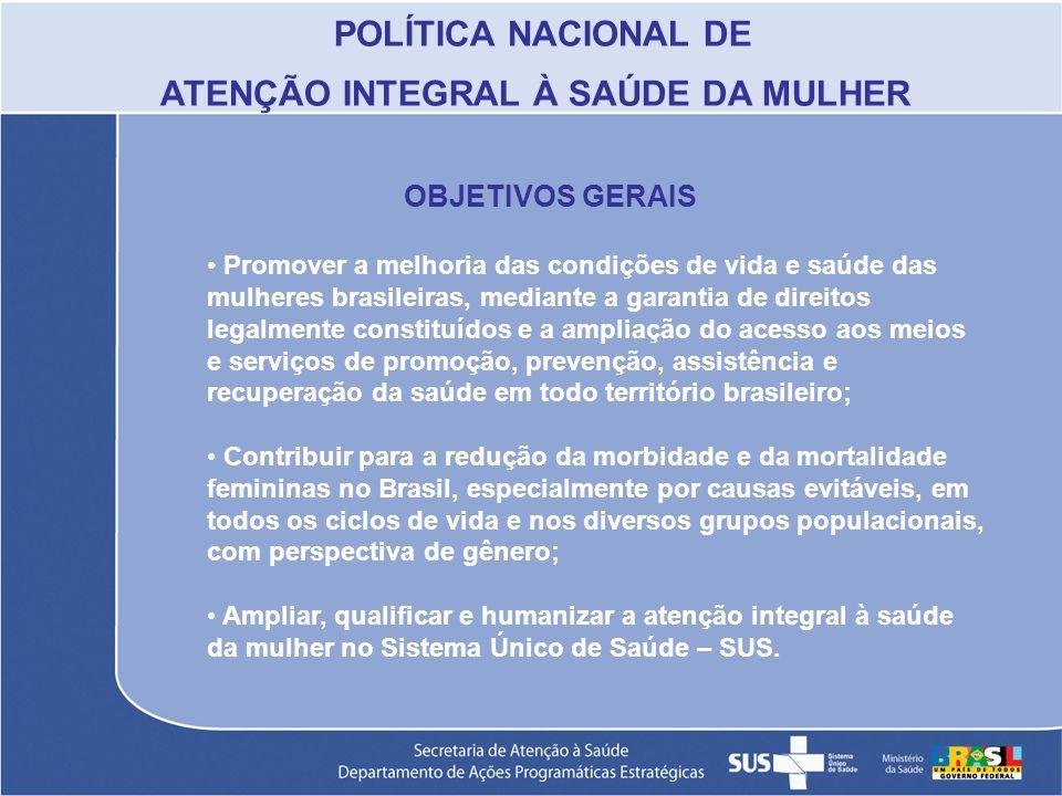 POLÍTICA NACIONAL DE ATENÇÃO INTEGRAL À SAÚDE DA MULHER OBJETIVOS GERAIS Promover a melhoria das condições de vida e saúde das mulheres brasileiras, m