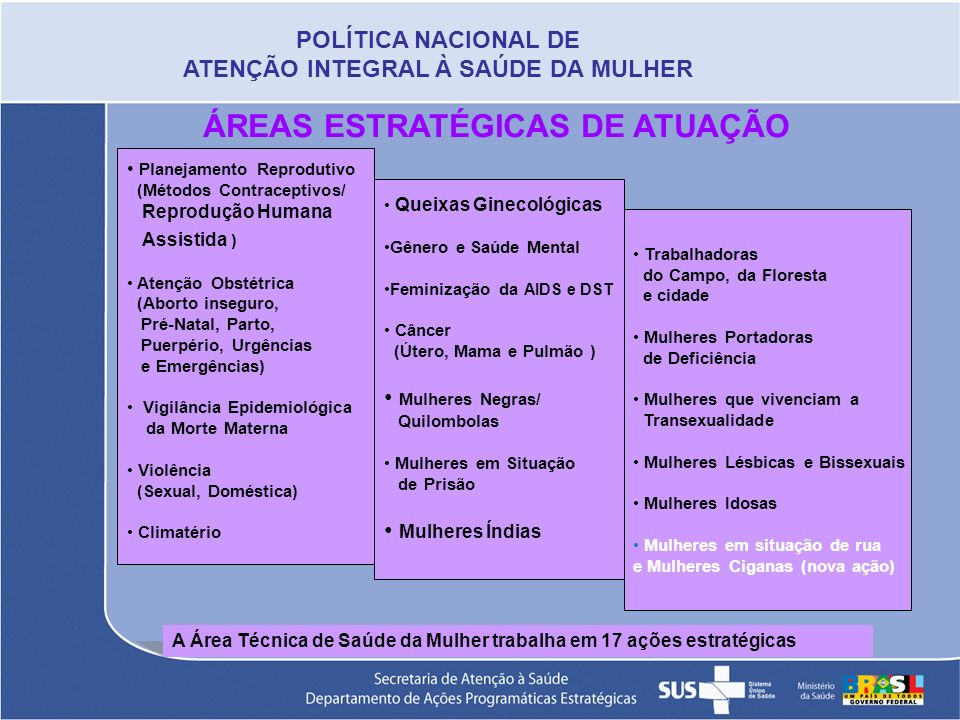 ÁREAS ESTRATÉGICAS DE ATUAÇÃO Planejamento Reprodutivo (Métodos Contraceptivos/ Reprodução Humana Assistida ) Atenção Obstétrica (Aborto inseguro, Pré