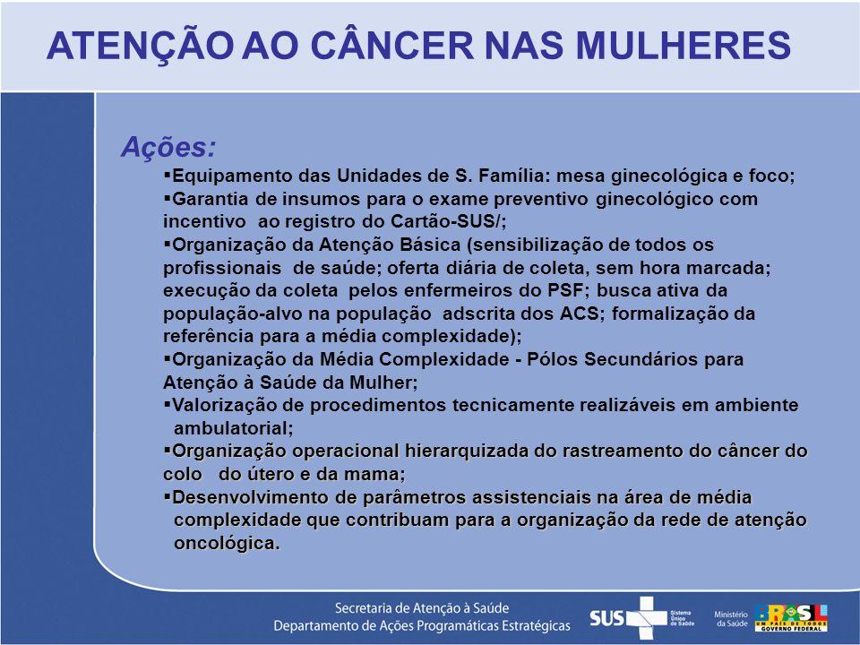 Ações: Equipamento das Unidades de S. Família: mesa ginecológica e foco; Garantia de insumos para o exame preventivo ginecológico com incentivo ao reg