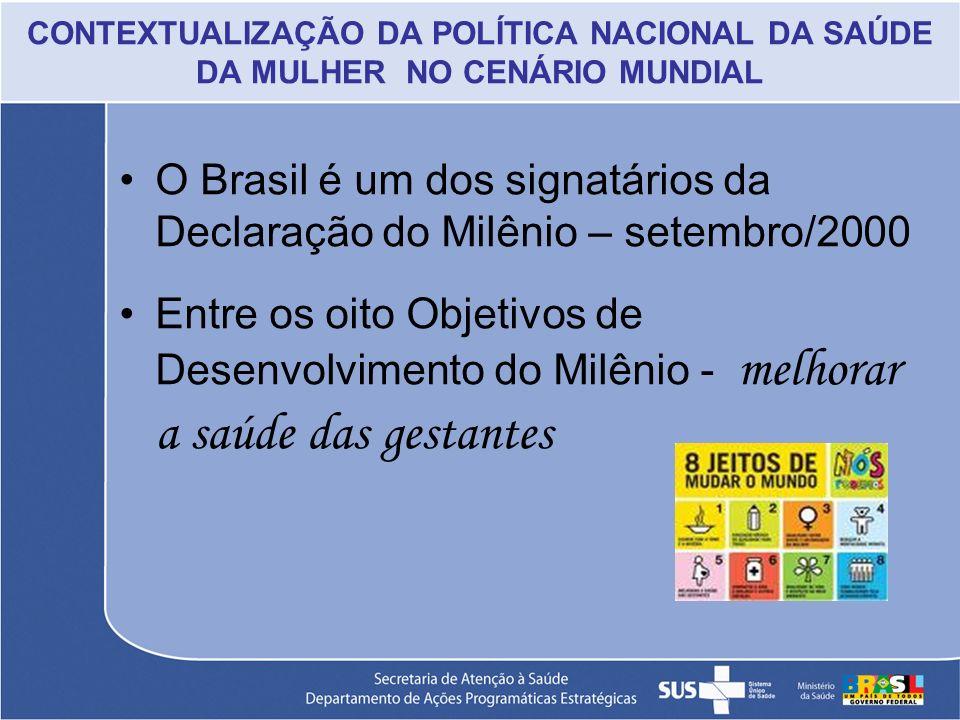 CONTEXTUALIZAÇÃO DA POLÍTICA NACIONAL DA SAÚDE DA MULHER NO CENÁRIO MUNDIAL O Brasil é um dos signatários da Declaração do Milênio – setembro/2000 Ent