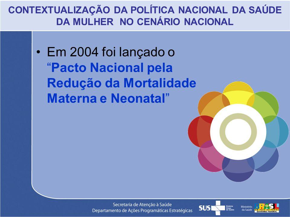CONTEXTUALIZAÇÃO DA POLÍTICA NACIONAL DA SAÚDE DA MULHER NO CENÁRIO NACIONAL Em 2004 foi lançado oPacto Nacional pela Redução da Mortalidade Materna e