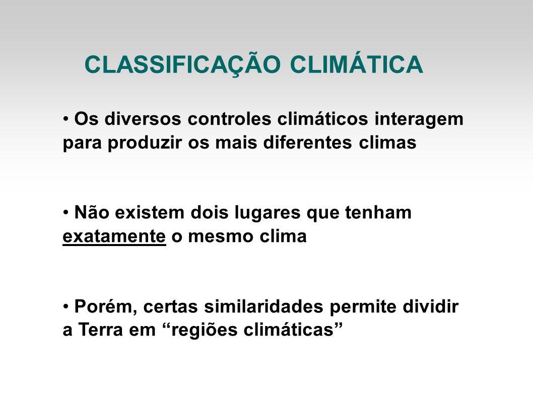 Os diversos controles climáticos interagem para produzir os mais diferentes climas Não existem dois lugares que tenham exatamente o mesmo clima Porém,