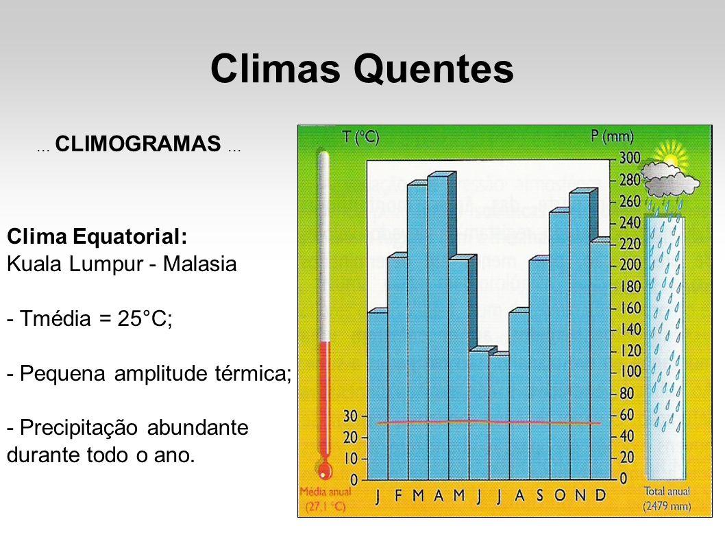 Climas Quentes Clima Equatorial: Kuala Lumpur - Malasia - Tmédia = 25°C; - Pequena amplitude térmica; - Precipitação abundante durante todo o ano....