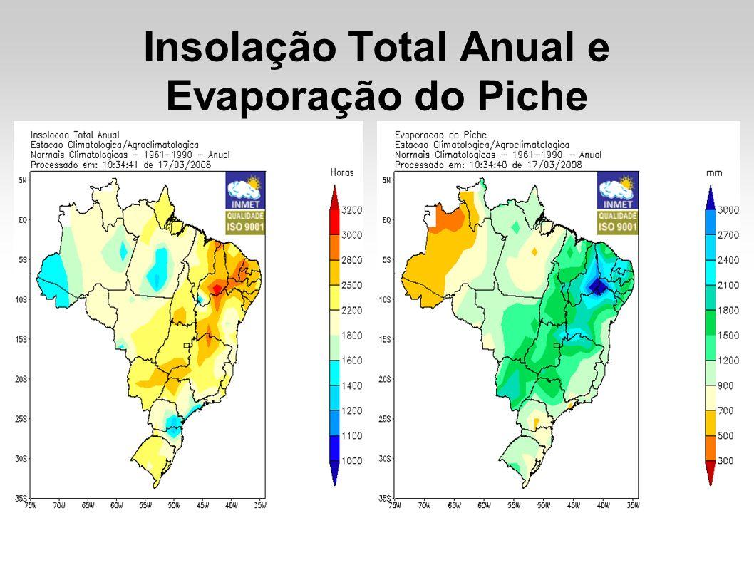 Insolação Total Anual e Evaporação do Piche