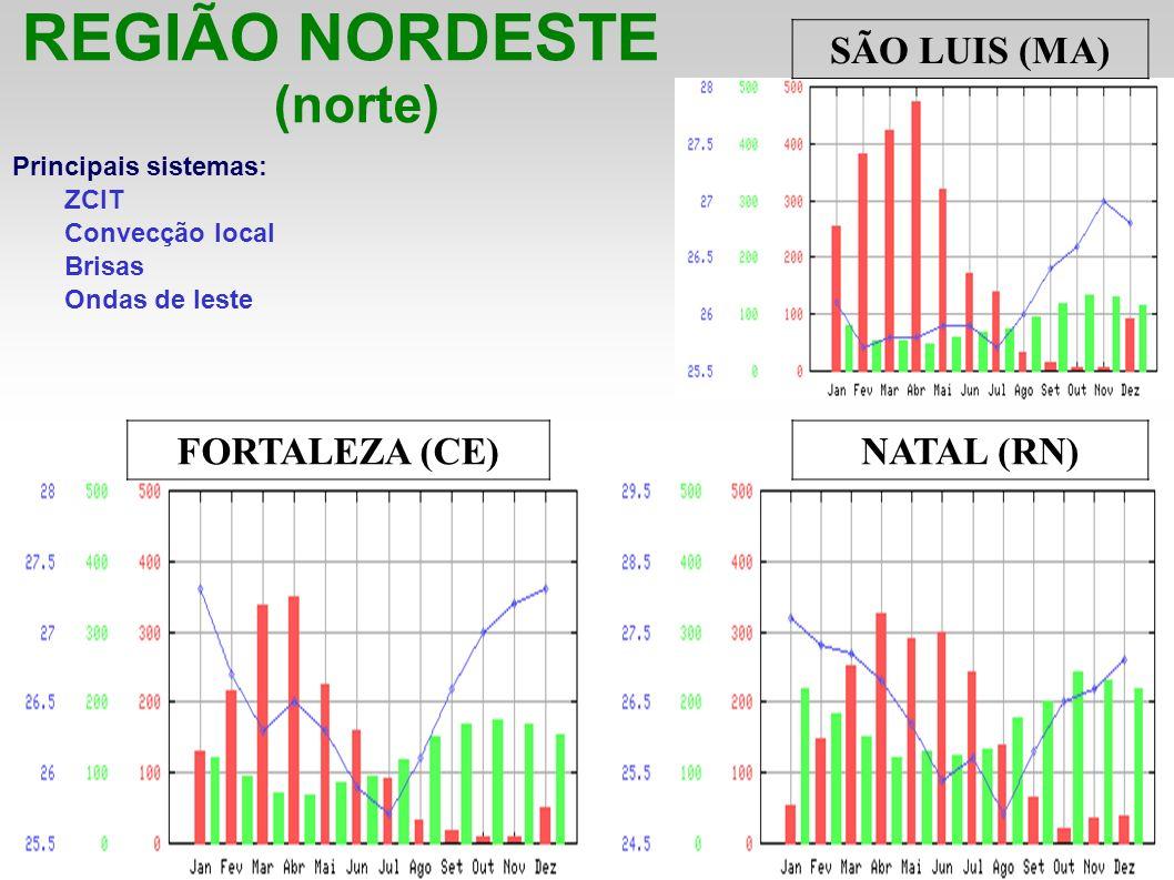REGIÃO NORDESTE (norte) Principais sistemas: ZCIT Convecção local Brisas Ondas de leste SÃO LUIS (MA) FORTALEZA (CE)NATAL (RN)