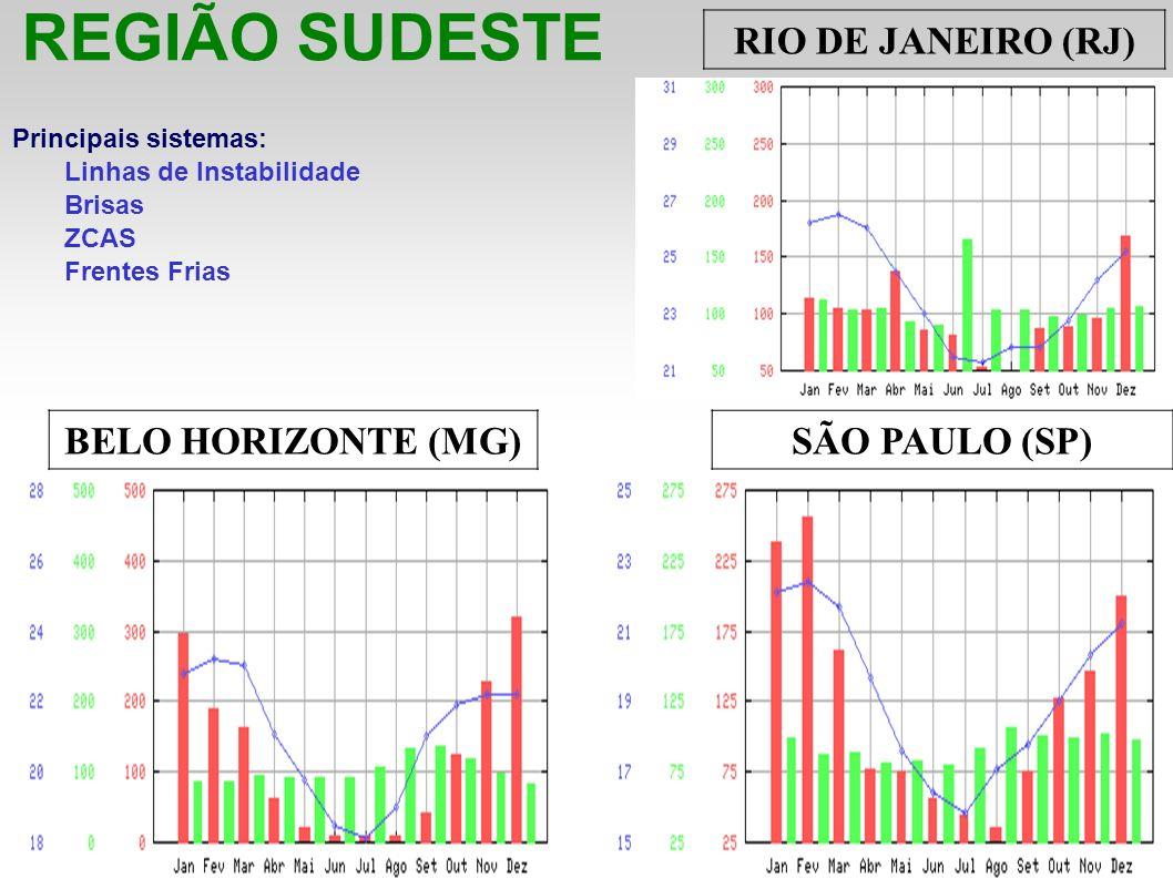 REGIÃO SUDESTE Principais sistemas: Linhas de Instabilidade Brisas ZCAS Frentes Frias RIO DE JANEIRO (RJ) BELO HORIZONTE (MG) SÃO PAULO (SP)