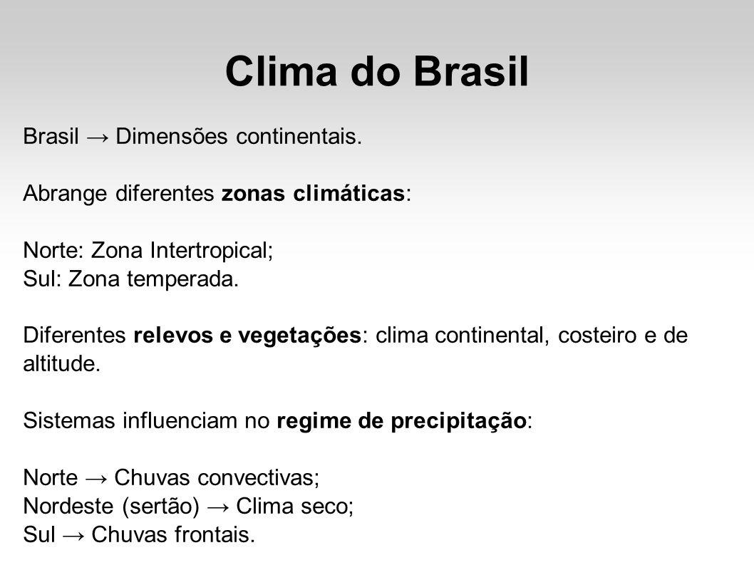Clima do Brasil Brasil Dimensões continentais. Abrange diferentes zonas climáticas: Norte: Zona Intertropical; Sul: Zona temperada. Diferentes relevos