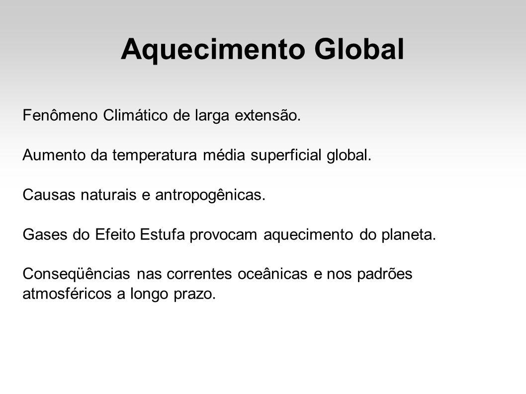Aquecimento Global Fenômeno Climático de larga extensão. Aumento da temperatura média superficial global. Causas naturais e antropogênicas. Gases do E