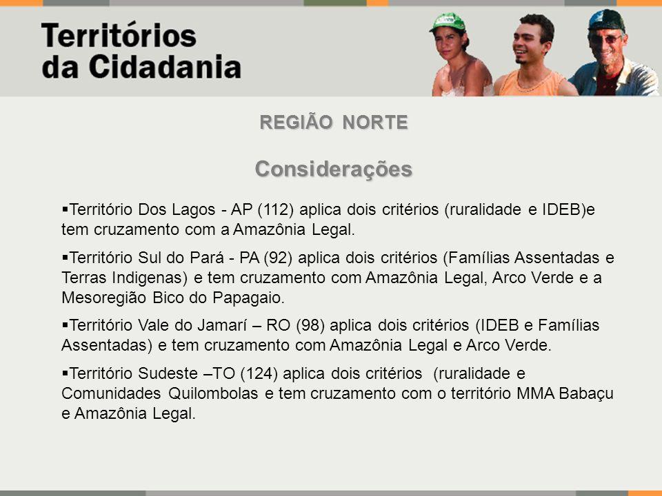 REGIÃO NORTE Considerações Território Dos Lagos - AP (112) aplica dois critérios (ruralidade e IDEB)e tem cruzamento com a Amazônia Legal.