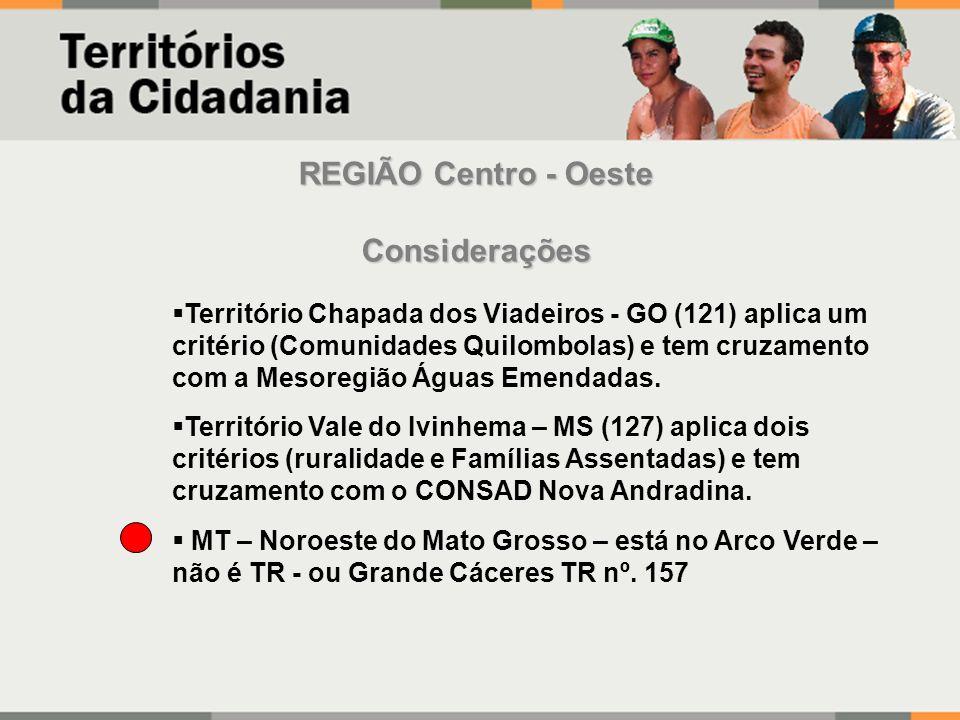 REGIÃO Centro - Oeste Considerações Território Chapada dos Viadeiros - GO (121) aplica um critério (Comunidades Quilombolas) e tem cruzamento com a Mesoregião Águas Emendadas.