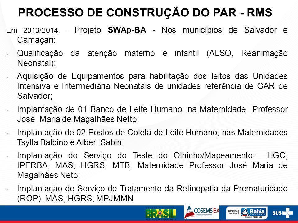 PROCESSO DE CONSTRUÇÃO DO PAR - RMS Em 2013/2014: - Projeto SWAp-BA - Nos municípios de Salvador e Camaçari: Qualificação da atenção materno e infanti