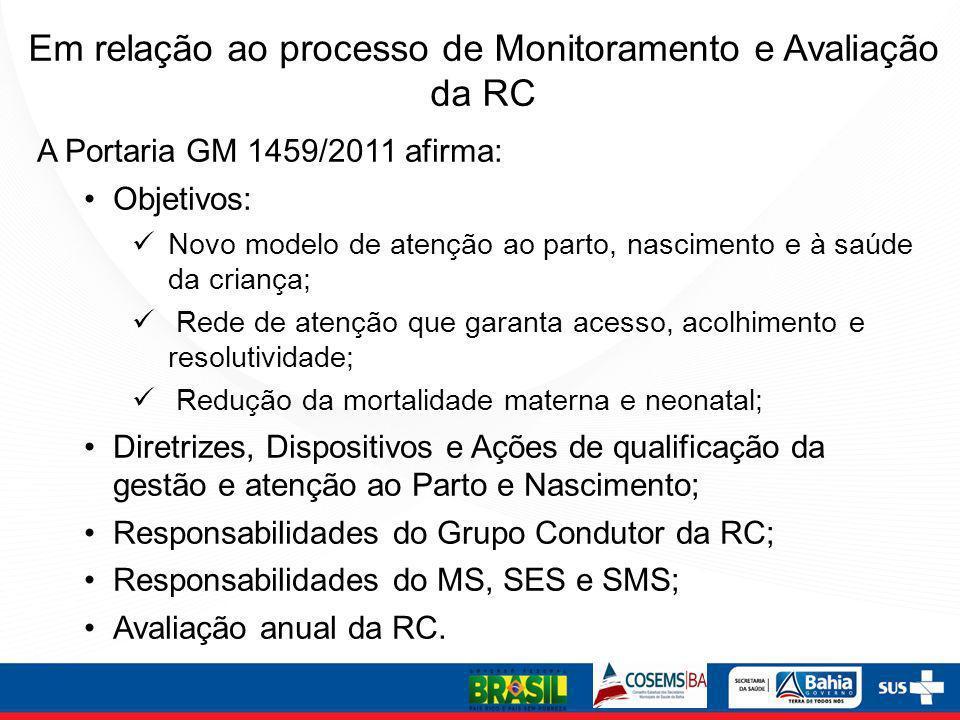A Portaria GM 1459/2011 afirma: Objetivos: Novo modelo de atenção ao parto, nascimento e à saúde da criança; Rede de atenção que garanta acesso, acolh