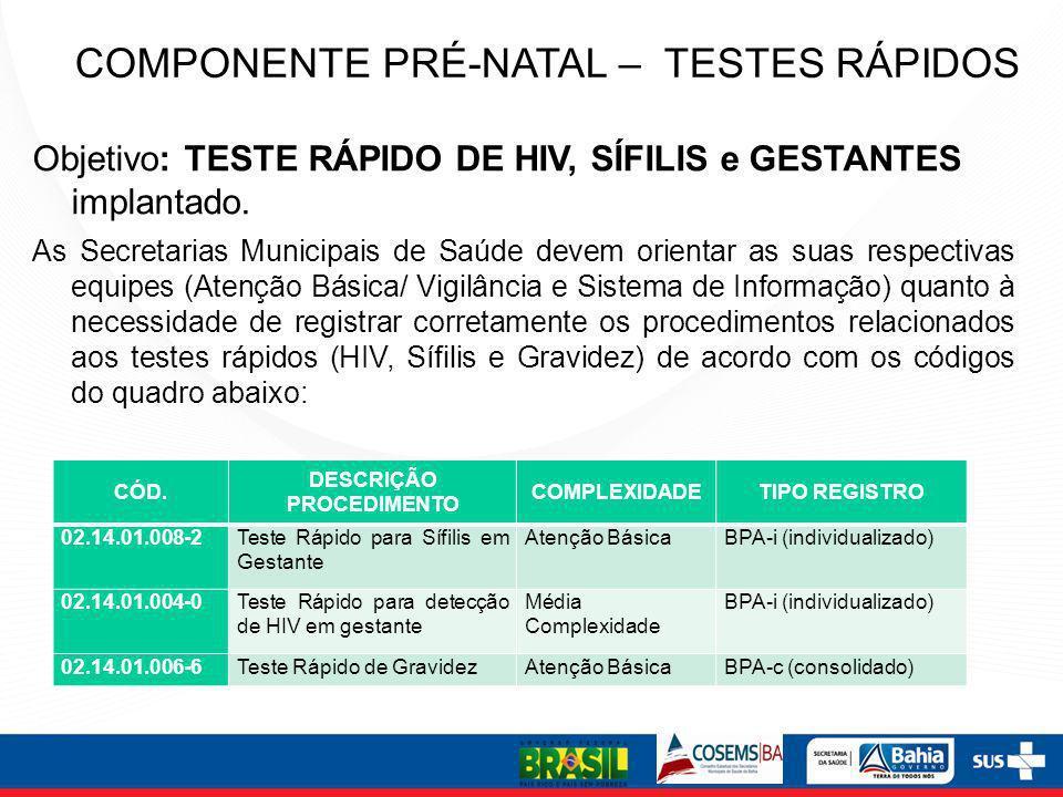 COMPONENTE PRÉ-NATAL – TESTES RÁPIDOS Objetivo: TESTE RÁPIDO DE HIV, SÍFILIS e GESTANTES implantado. As Secretarias Municipais de Saúde devem orientar
