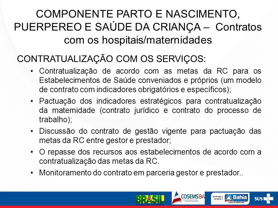 COMPONENTE PARTO E NASCIMENTO, PUERPEREO E SAÚDE DA CRIANÇA – Contratos com os hospitais/maternidades CONTRATUALIZAÇÃO COM OS SERVIÇOS: Contratualizaç