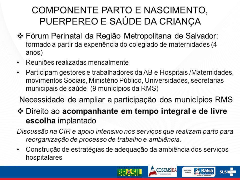 Fórum Perinatal da Região Metropolitana de Salvador: formado a partir da experiência do colegiado de maternidades (4 anos) Reuniões realizadas mensalm