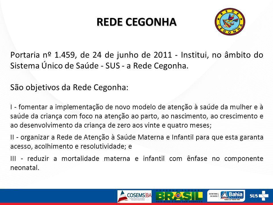 REDE CEGONHA Portaria nº 1.459, de 24 de junho de 2011 - Institui, no âmbito do Sistema Único de Saúde - SUS - a Rede Cegonha. São objetivos da Rede C