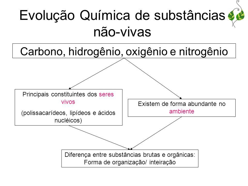 Carbono, hidrogênio, oxigênio e nitrogênio Principais constituintes dos seres vivos (polissacarídeos, lipídeos e ácidos nucléicos) Existem de forma ab