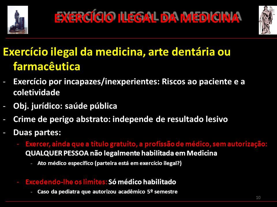 10 EXERCÍCIO ILEGAL DA MEDICINA EXERCÍCIO ILEGAL DA MEDICINA Exercício ilegal da medicina, arte dentária ou farmacêutica -Exercício por incapazes/inex