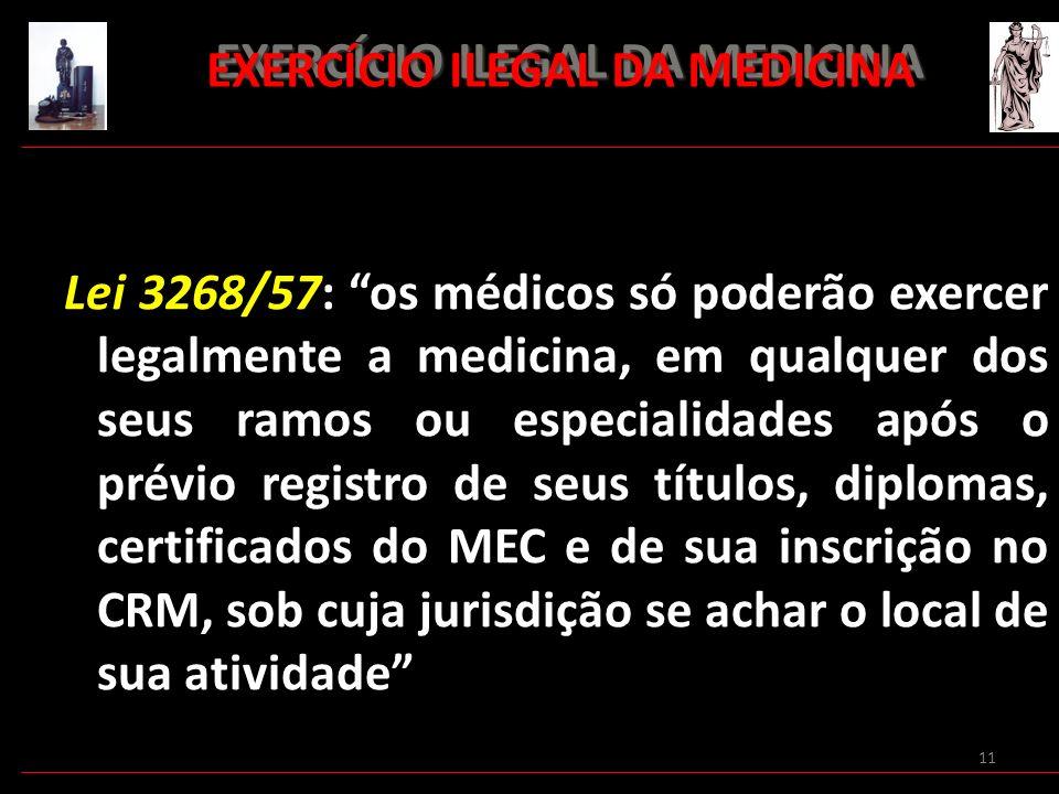 11 EXERCÍCIO ILEGAL DA MEDICINA EXERCÍCIO ILEGAL DA MEDICINA Lei 3268/57: os médicos só poderão exercer legalmente a medicina, em qualquer dos seus ra