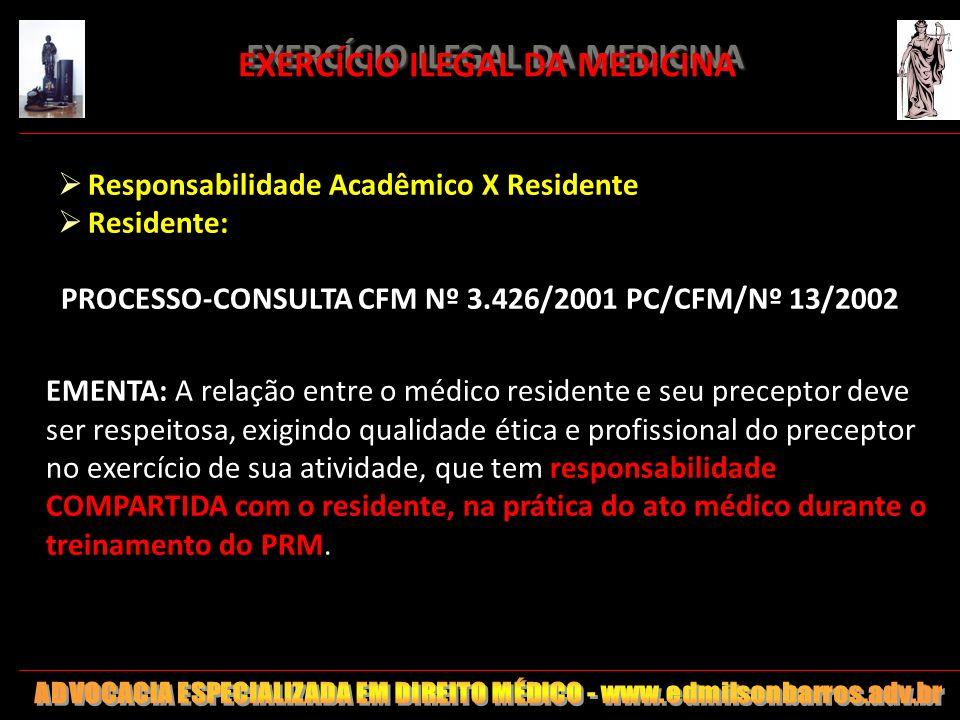 EXERCÍCIO ILEGAL DA MEDICINA EXERCÍCIO ILEGAL DA MEDICINA Responsabilidade Acadêmico X Residente Residente: PROCESSO-CONSULTA CFM Nº 3.426/2001 PC/CFM