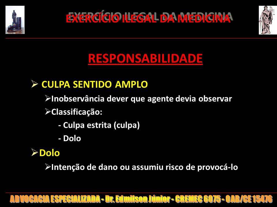 7 EXERCÍCIO ILEGAL DA MEDICINA EXERCÍCIO ILEGAL DA MEDICINA RESPONSABILIDADE CULPA SENTIDO AMPLO Inobservância dever que agente devia observar Classif