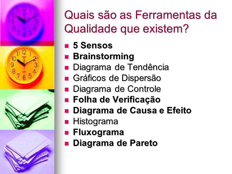 Quais são as Ferramentas da Qualidade que existem? 5 Sensos 5 Sensos Brainstorming Brainstorming Diagrama de Tendência Diagrama de Tendência Gráficos